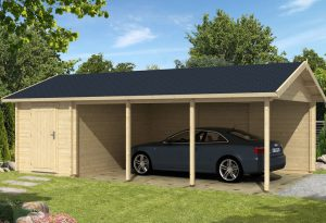 Garage & Carport, Garage med carport, portar